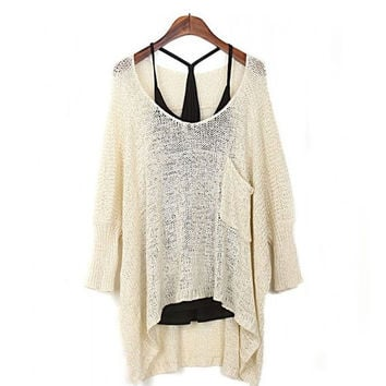 Women's Casual Comfortable Lightweight Baggy Knit Pullover Sweater