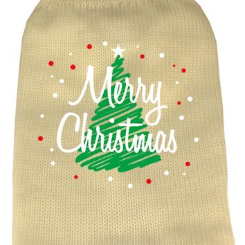 Scribbled Merry Christmas Screen Print Knit Pet Sweater Sm Cream