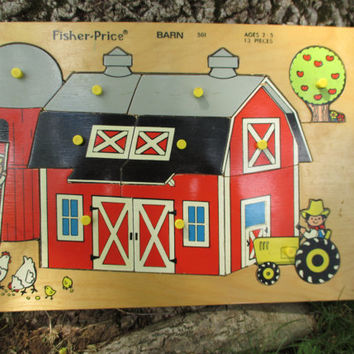 Vintage Childs Puzzle Fisher Price Barn 1971