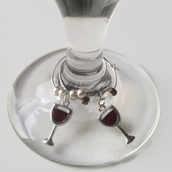 Wine Glass Charms, Red Wine, Silver Wine Charms, Wine Glasses, Red Wine Charms