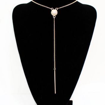 Simple pearl necklace cross body chain chest chain accessories
