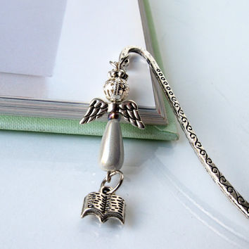 Angel Bookmark - Silver Guardian Angel Charm - Religious Spiritual Gifts - Unique Beaded Bookmark - Teacher Gifts