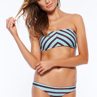 Strapless Stripe Prints Bikini Swimwear