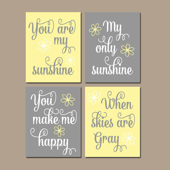 Merveilleux Girl YELLOW GRAY Nursery You Are My From TRM Design | Things I