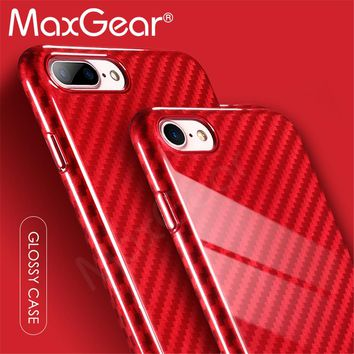 MaxGear Ultra Slim Thin Luxury Glossy Carbon Fiber Texture Phone Case 6 6S Plus 6Plus for iPhone 7 7Plus