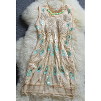 Flower Embroidery Sequined Dress
