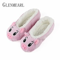 Cute Women Slippers Animal Winter Warm Soft Indoor Slipper Home Shoes Flats Non-Slip Comfortable Fur Slippers Chirstmas Gift3-35