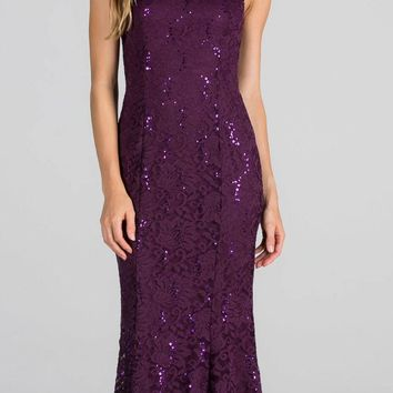 Eggplant Cap Sleeves Fit and Flare Long Formal Dress Lace Cut Out Back
