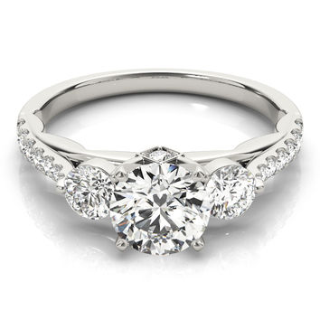 Engagement Ring -Three Stone Cathedral Engagement Ring with Crescent Side Design-ES2127