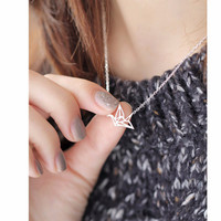 Origami Paper Crane Necklace