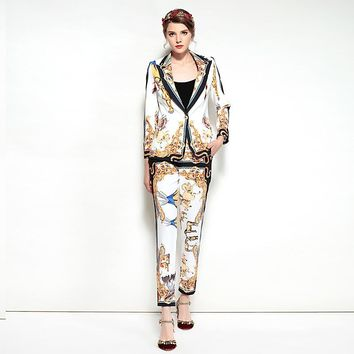 Designer Two Piece Printed Jacket and Pants Suit Set