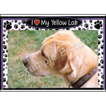 Yellow Lab Purple 3-N-1 Picture Frame, Labrador Retriever by Magnetic Memories