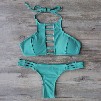 Green Solid Bikini Set Swimsuit Bathing Suit Bandage Bikini