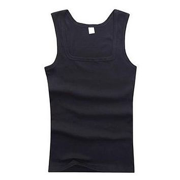 Men's Solid Simple Casual Sexy Tank Tops Men Fit Soft Square Collar Sleeveless Tops Blouse Tank Muscle T-shirts Clothes jersey