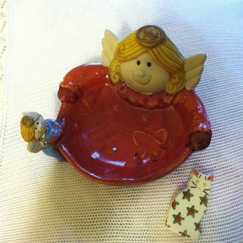 Red Angel Trinket Dish Vintage Ceramic Jewelry Dish With Two Whimsical Angels Blue Red Gold Christmas Angels Candy Ring Soap Plate Gift