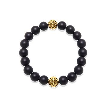 Wristband with Matte Onyx and Gold