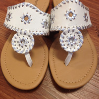 Jack Inspired Sandals - White/Silver