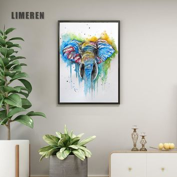 Watercolor Abstract Elephant Canvas Art Print Painting Poster Wall Pictures For Wall Art Home Decor Decoration Pictures L001