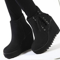 Womens Winter Lace-up Zip Wedge Platform Casual Ankle Boots Booties Shoes 1kZ