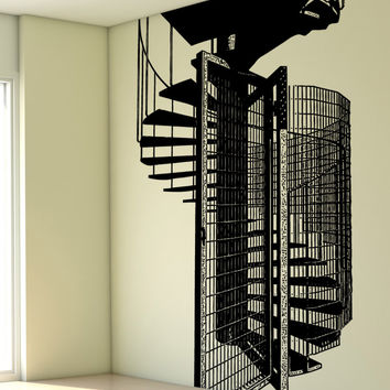 Vinyl Wall Decal Sticker Gated Spiral Staircase #5232