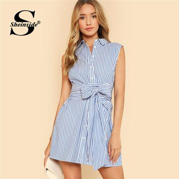 Sheinside Blue Vertical Striped Shirt Dress Women Belted Button Up Sleeveless Short Dress 2018 Summer Office Work Wear Dress