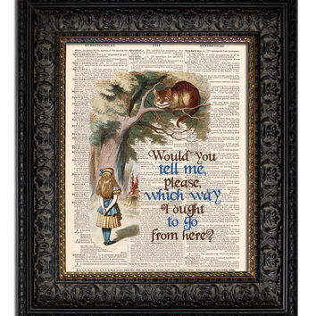 ALICE IN WONDERLAND & CHESHIRE CAT QUOTE Dictionary Art Print