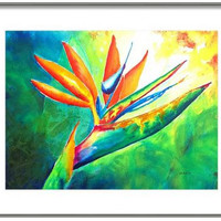 "ORIGINAL Watercolor, Tropical Flower, Floral, Bird of Paradise, 12x16"", Colorful, Botanical, Nature, Garden, Modern, Abstract"