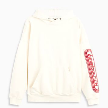 dp retro hoodie / natural + red