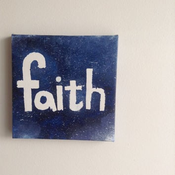 canvas acrylic painting faith, size 15x15 cm