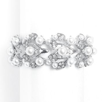 Bold Pearl Vine Wedding Stretch Bracelet in White
