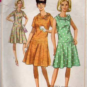 Simplicity 60s Sewing Pattern Drop Waist Dress Semi Circle Skirt Sleeveless Casual Day Dress Flapper Style Roll Neck Collar Bust 33