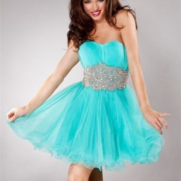 A-line Sweetheart Beaded Empire Open Back Short Tulle Prom Dress PD1981