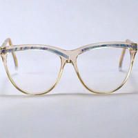 Vintage 70s Secretary Style Two Tone Frames/Glasses. Clear Transparent/Bright Blue Geometric Space Age Design.