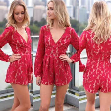 HOT Sales ! 2016 Women sexy Long Sleeve Lace Red Bodysuit Slim Jumpsuit Cut Out Rompers casual Shorts Playsuit Summer Clothing