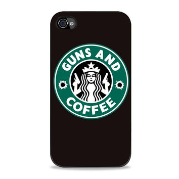 Guns And Coffee Starbuck Parody Iphone 4S Cases
