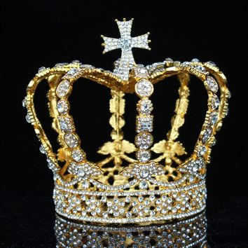 Crystal Vintage Royal Queen King Tiaras Crowns Wedding Hair Jewelry Accessories