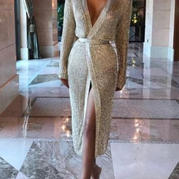 Miami Glam Knitted Long Cardigan Gold