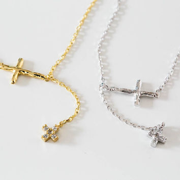 925 cz cross lariat necklace