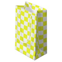 Yellow and White Checkerboard Pattern Small Gift Bag