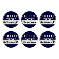 Dominik Hello My Name Is Plastic Resin Button Set of 6