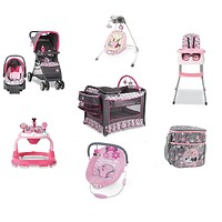 Disney Minnie Bowtiful Complete Baby Gear Bundle with Swing & Diaper Bag