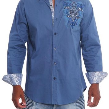 Tribal Fleur de Lis Button Up Shirt SH444 - L4E