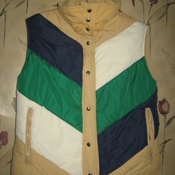 Vtg hipster 80s Mountain Goat White Stag down womens Puffer reversible striped outdoor ski winter Vest sz med