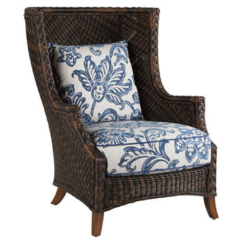 Lanai Wing Chair, Blue/White, Outdoor Club Chairs