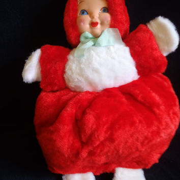 Pajama Bag Doll Collectible 1960's Plush Doll Red and White Collectible Vintage Toy