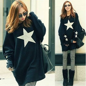 autumn new arrival maternity clothing sweatshirt mm five-pointed star large plus size (Color: Black) = 1945696708