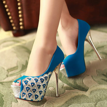 Fashion velvet waterproof fish mouth high-heeled shoes 8186SL