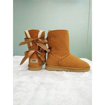 UGG Fashionable Comfortable Winter Warm Two Bow In Tube Boots Shoes Brown I