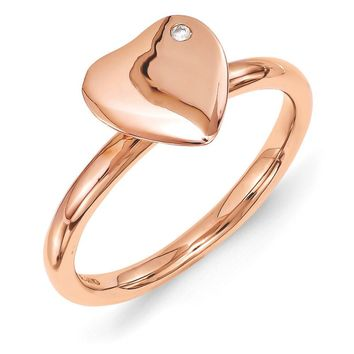 14k Rose Gold Plated Sterling Silver 8mm Heart 1pt Diamond Stack Ring
