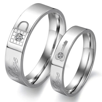 Never Darken Titanium Steel Love His and Hers  Key Lock Couple Ring Set  Romantic Lovers Wedding Band Cute Jewelry Fashion
